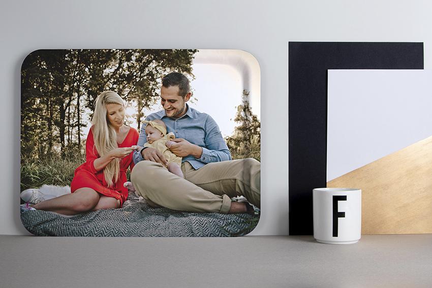 Onetwotray dienblad met foto van familie.